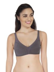 SOIE Steel Grey 100 % Cotton Bra For Women (Code - CB-304STEEL_GREY)