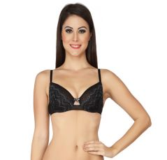 SOIE Black Nylon Spandex Bra For Women (Code - FB-607BLACK)