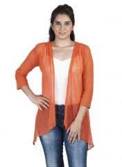Soie 34Th Embroidered Fabric Sleeves Jacket & Pannels, Uneven Hem(Product Code)_Jkt-01Orange_