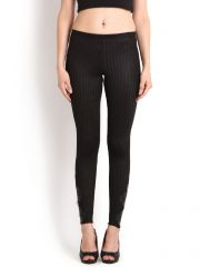Soie Fashion Ankle Length Legging Embossed, Leather Applique(Product Code)_L-33Black