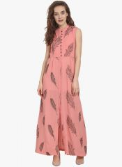 Soie Womens Embroidered Fabric Maxi Dress - (code - 6872PINK)
