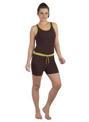 SOIE Coffee/Green Cotton / Spandex Night Suit For Women (Code - NT-6COFFEE&GREEN)