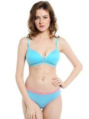 Soie Everyday Non Wired Organic Cotton Padded Bra and matching panty (Code - SET 112+1112BUBBLE GUM)
