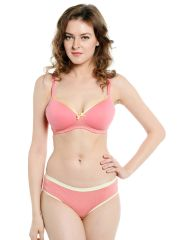 Soie Everyday Non Wired Organic Cotton Padded Bra and matching panty (Code - SET 112+1112CANDY FLOSS)