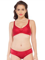 Soie Satin spandex fabric bra with matching panty (Code - SET 310+1310CLASSIC RED)