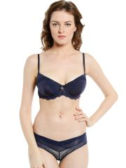 Soie Navy Bra and Panty Set with Draped Effect Balconette Bra and Lace Panty (Code - SET 522+1522NAVY)