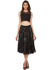 Soie Lace Fabric With Printed Lining Flared Skirt (Product Code - SK-32)