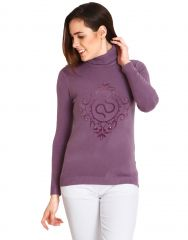 Soie High Neck Pullover, Soie Label On Chest(Product Code)_Ww-29Purple