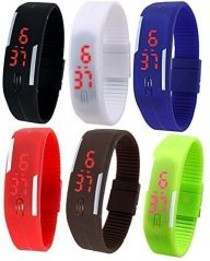 M tech Watches - Set of 6 Digital Rubber Jelly Slim Silicone Sports Led Smart Band Watch for Boys, Girls, Men, Women, Kids