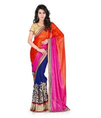 Fabkaz Women Georgette Orange Colour Heavy Embroidey Work Lace+ Embroidery Work Designer Saree - (Code - Fks008)