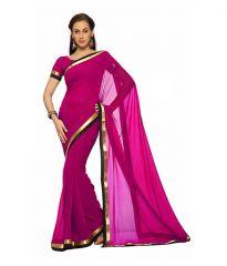 Fabkaz Women Georgette Pink Colour Lace Border Work Designer Saree - (Code - Fks048)