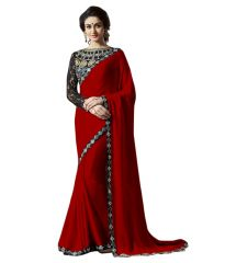 Fabkaz Women Satin Chiffon Red Colour Lace Broder Work Designer Saree - (Code - Fks162)