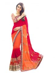 Fabkaz Women Georgette Maroon+Orange Colour Zari Embroidery Work With Lace Border Designer Saree - (Code - Fks179)
