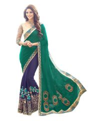 Fabkaz Women Georgette Green+Blue Colour Zari Embroidery Work With Lace Border Designer Saree - (Code - Fks181)