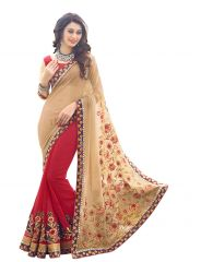 Fabkaz Women Georgette Red+Cream Colour Zari Embroidery Work With Lace Border Designer Saree - (Code - Fks187)