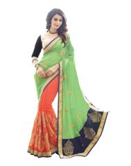 Fabkaz Women Georgette Green+Orange Colour Zari Embroidery Work With Lace Border Designer Saree - (Code - Fks188)