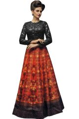 Charcoal Grey & Orange Digital Printed Lahenga Choli (KZL-029)