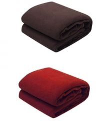 Primium Quality Fleece Ac Double Bed Blanket Set Of 2-code-flbsbc9)