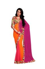 Vipul Branded Designer Georgette Lace Border Catalog Saree with Exclusive Foil work(Product Code)_12105