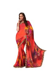 Vipul Georgette Sarees - Vipul Branded Designer Georgette Lace Border Catalog Saree(Product Code)_12118