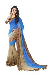 Vipul Georgette Sarees - Vipul Womens Georgette Saree with digital print blouse & border (Multicolor)(Product Code)_14400