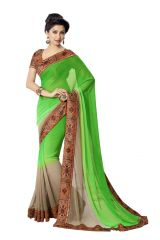 Vipul Georgette Sarees - Vipul Womens Georgette Saree with digital print blouse & border (Multicolor)(Product Code)_14402