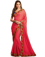 Vipul Sarees (Misc) - Vipil Heavy Embroidered Blue blouse & Red Saree on Satin Jacquard Fabric (Product Code)_2310