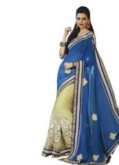 Vipul heavy embroidered Full sleeve blouse with Half & Half Net & Art silk Saree(Product Code)_2718