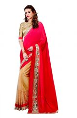 Vipul Multicoloured Chiffon Saree with blouse piece (Code - 3028)