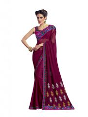 Vipul Women's Clothing - Vipul Heavy Embroidery Maroon Georgette Saree(Product Code)_2623