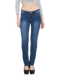 Jeggings - TARAMA Blue color Straight Fit Cotton Stretch Denim fabric Full length Jeans for women's