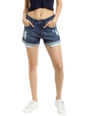 TARAMA Mid Rise Regular fit Dark Blue color Mini Shorts for women's-A2 TDB1235A