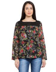 TARAMA Black color Georgette fabric Floral Print Top for womens (Product Code - TDT1102A)