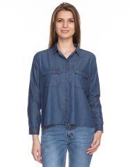 TARAMA Dark Blue color Denim fabric Long Sleeve women's Shirt