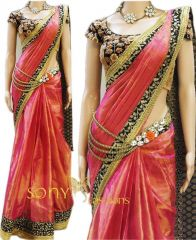 Silk Sarees - Try N Get's Pink Color Art Silk Fancy Designer Saree (product Code - Tng-sjnx-nx-28)