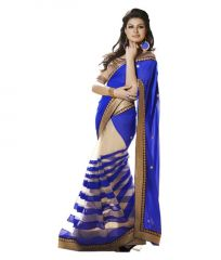 Vellora Designer Half Half Blue Colour Georgette And Net Fashion Saree_gfs1436vegf