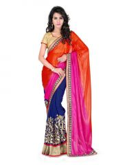 Vellora Designer Fashion Half Half Multicolour Embroidered Chiffon Saree_gfs1597vegf