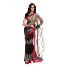 Kalazone Women's Clothing - Kalazone Black Color Net Fabric Embroidered Festive Wear Designer Saree_s11862_s3_n