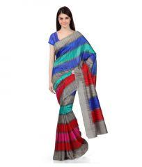Designer Bhagalpuri Silk Saree With Unstitched Blouse (mheart05)