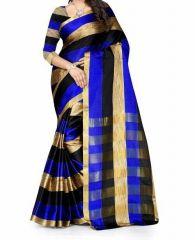 Mahadev Enterpris Blue Color Cotton Silk Saree With Unstitched Blouse Picsmpf32