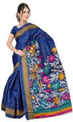 Dark Blue Bhagalpuri Printed Saree By Purple Oyster