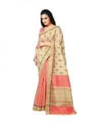 Nilkanth Beige Printed Bhagalpuri Silk Saree With Blouse - (product Code - Mf001-0053)