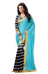 Nilkanth Turquoise Printed Bhagalpuri Silk Saree With Blouse - (product Code - Mf002-0305)
