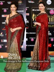 Deepika Padukon Maroon And Lite Mehendi Stylish Fancy Georgette Bollywood Replica Saree (product Code_ Tng Ps 500)