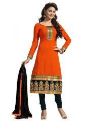 Shonaya Orange Chanderi Cotton Dress Material With Dupatta - (product Code - Vimag-9006)