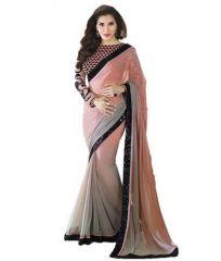 Shopeezo Daily Wear Light Pink & Grey Color Padding Saree/sari
