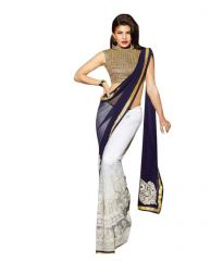 Bollywood Replica Shoppingekart Embriodered Fashion Georgette Saree - (code -jeklin_white)
