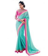 Bollywood Replica Shoppingekart Embriodered Fashion Georgette Saree - (code -bhabhiji_blue)