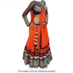 Aagaman Fashion Net Orange Embbroidered Lehenga Choli