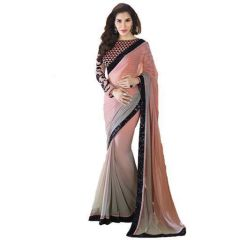 Shubahm Peach And Grey Bollywood Designer Saree - Sc_30